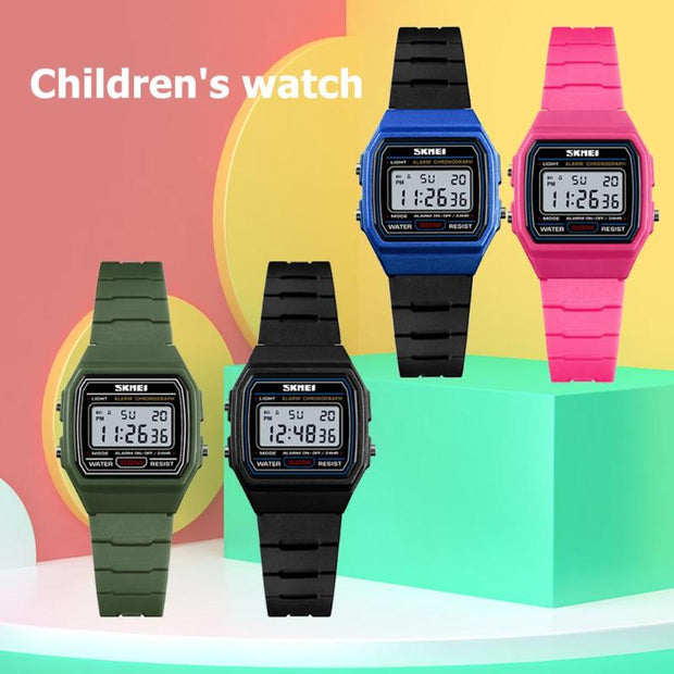 SKMEI Waterproof Sports Watches Kid Boys Girls Luminous PU Strap Wristwatch