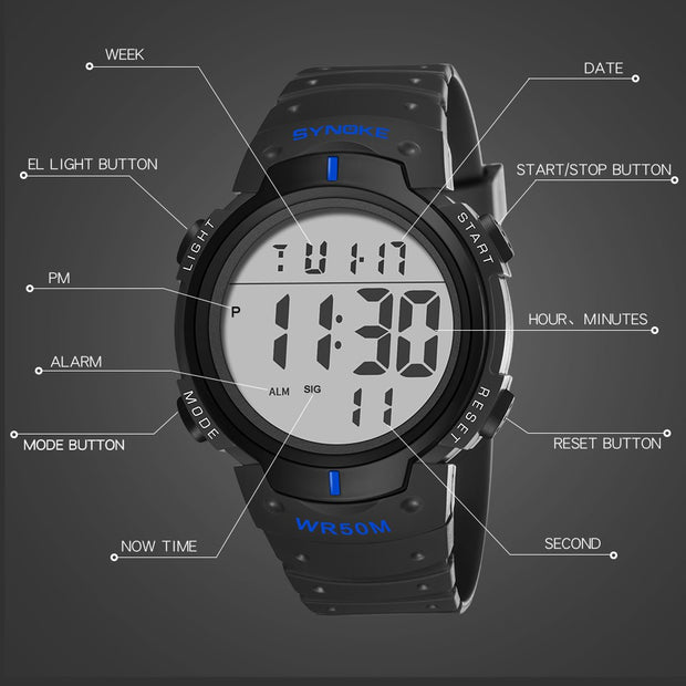 SYNOKE Luxury Brand Mens Sports Watches Dive LED Digital Military Watch Men Fashion Casual Electronics Wristwatches Male Clock