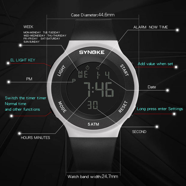 SYNOKE Men Sports Watches Fitness LED Digital Watch Men Alarm 50m Waterproof Wristwatches Military Watch Relogio Masculino
