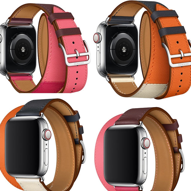 Series 3/2/1 Genuine Leather Double Tour Strap For Apple Watch Band 38mm 40mm 42mm 44mm For Iwatch Series 4 Wrist Bracelet