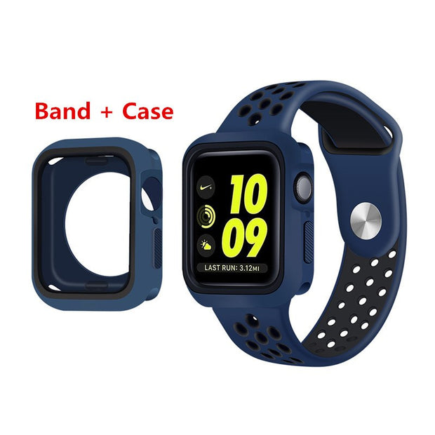 Series 4 40MM 44MM Full Protector Soft Shell Bracelet Watchband Case Cover For Apple Watch Sport Band For Iwatch Series 4 Strap
