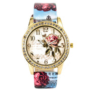 Shellhard Fashion Women Crystal Flower Rose Leather Watch Lady Quartz Rhinestone Dress PU Leather Wrist Watches 10 Colors
