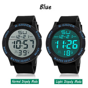 Shellhard Hot Sale Fashion Mens LED Digital Stopwatch Date Rubber Sport Wrist Watch Silicone Waterproof Wrist Watch