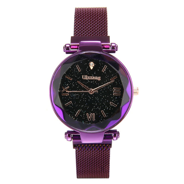 Shellhard Top Brand Watches Rose Gold Mesh Magnet Buckle Starry Quartz Watch Geometric Surface Casual Women Quartz Wristwatch