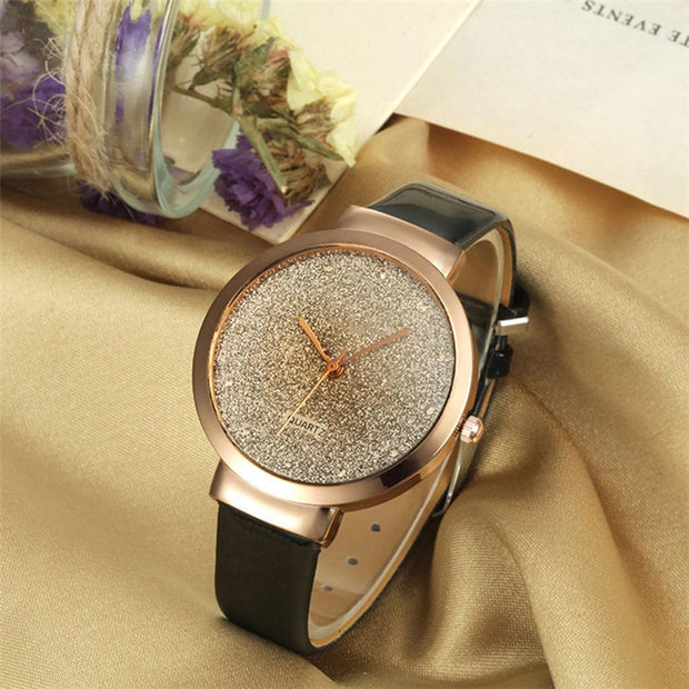 Shimmering Round Dial Luxury Faux Leather Strap Analog Women Quartz Wrist Watch Fashion 2108 Hot Sale Dropshipping