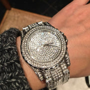 (Ship From US) New Top Quality Women Luxury Watch Steel Full Rhinestone Wristwatch Ladies Crystal Dress Watches Female Watch