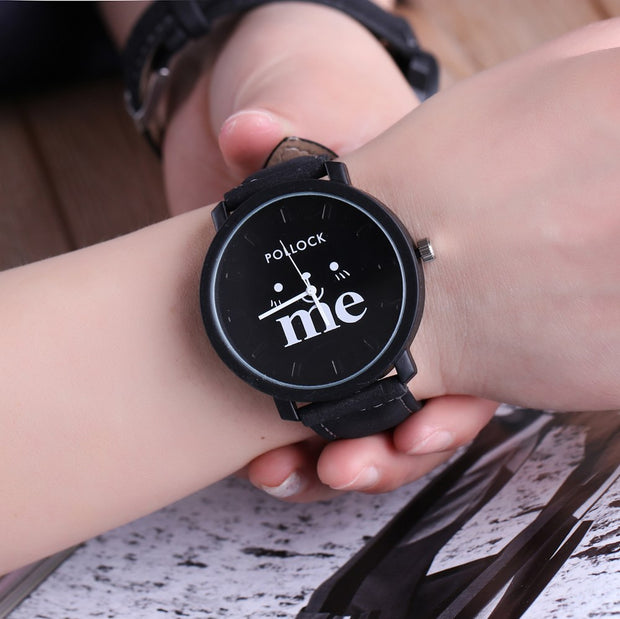 Simple New Lovers' Watch Men Women Clock Quartz PU Leather Wrist Watches For Boy Girl Me Black