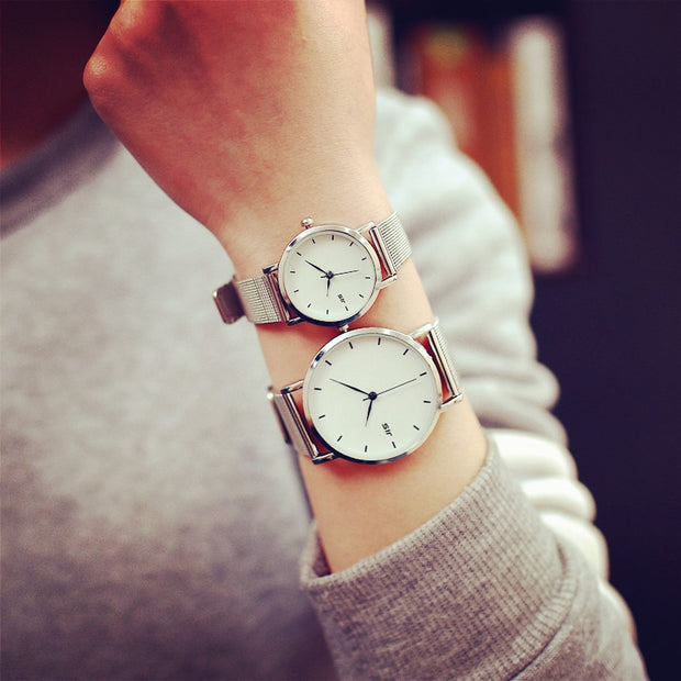 Simple Silver Watches Women Exquisite Stainless Steel Mesh Strap Fashion Casual Wild Quartz Bracelet Watch Relogio Feminino Gift