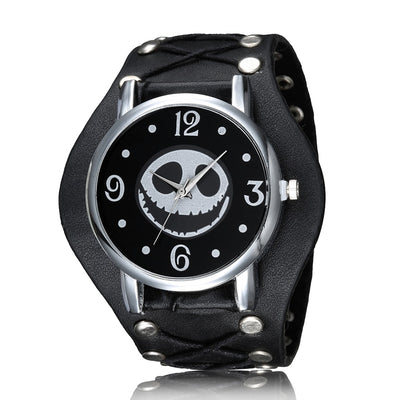 Skull Head Men Watch Halloween Motif The Nightmare Before Christmas Punk Skeleton Mens Wrist Watches Quartz Watch Wristwatch