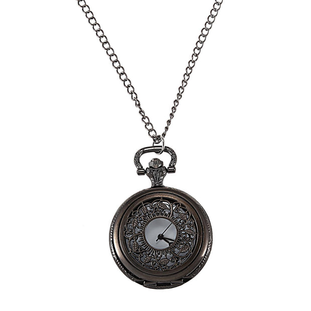 Small Black Leaf Pocket Watch Nostalgic Carved Hollow Pendant Necklace Gift Punk Quartz Pocket Watch