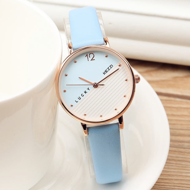 Small Fresh Rose Gold Watch Women Student Fashion Casual Leather Quartz Wrist Watch Female Trend Literature And Art Wristwatch