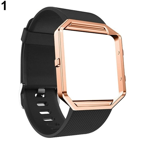 Soft Silicone Watch Band Replace Sport Strap With Rose Gold Frame For Fitbit Blaze