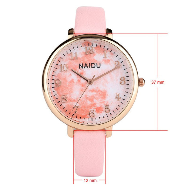 Sport Watch For Women Exquisite Pattern Dial Fine Band Arabic Digital Scale Luxury Brand Leather Quartz Watch Women Ladies