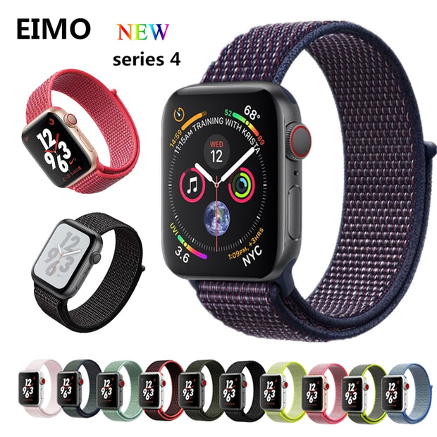 Sport Loop For Apple Watch Band 4 44mm 40mm Woven Nylon Iwatch Series 4 3 2 1 42/38mm Breathable Wrist Bracelet Lightweight Belt
