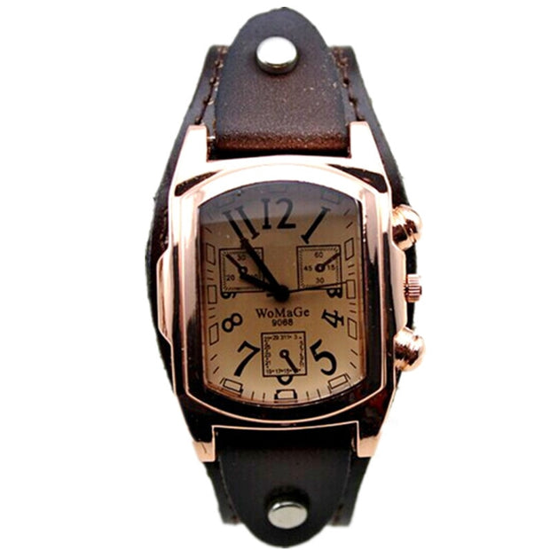 Stainless Steel Case &amp Leather Band Lady Fashion Gift Quartz Sport Wristwatches