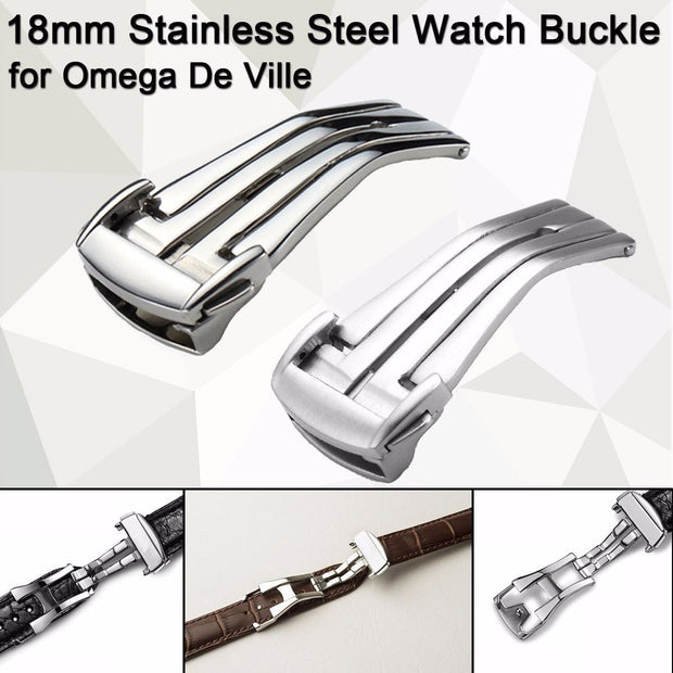 Stainless Steel Deployment Clasp Silver 18mm Watchband Leather Strap Folding Buckle Butterfly Buckles For OMEGA Accessories