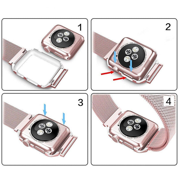 Stainless Steel Mesh Milanese Loop Metal Watchband For Apple Watch Band 42mm 38mm Iwatch Series 3/2/1 Wrist Bracelet With Case