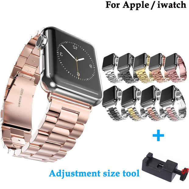 Stainless Steel Fashion Strap For Apple 42mm/38mm/44mm/40mm For Iwatch Series 4/3/2/1 Smart Watch Watchband+Adjustment Size Tool