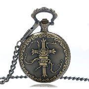 Steampunk Bronze Roman Numbers 3d Cross Design Men Quartz Pocket Watch Retro Women For Gifts With Necklace Colar Masculino