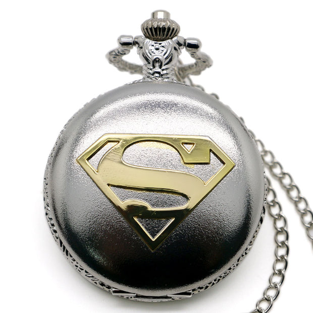 Super Hero Theme Accessory Pendant Quartz Pocket Watch Superman Bronze/Silver/Black Watch Gift Reloj