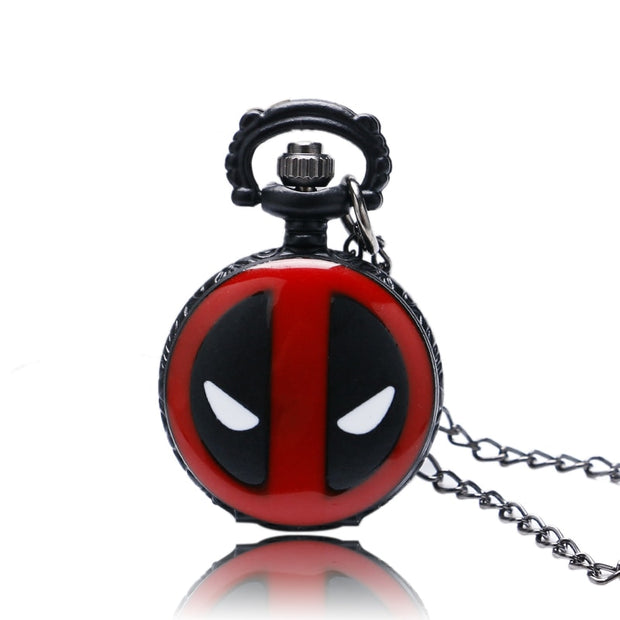 Super Small Mini Size Fashion Black DEADPOOL Marvel Animation Anime Bullet Quartz Pocket Watch Pendant Necklace Mens Womens Kids