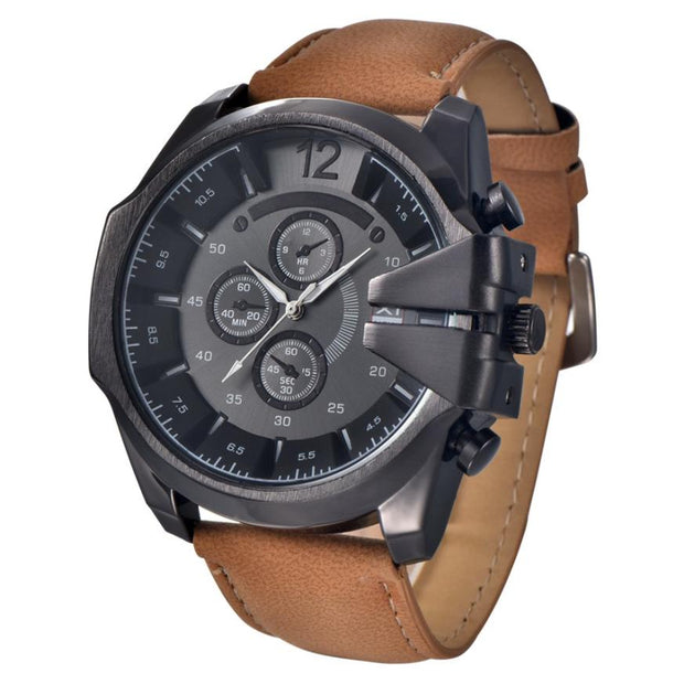 Superior Hot Selling Cool Men's Watch Analog Sport Steel Case Quartz Dial Leather Wrist Watch Gift Relogio July 8