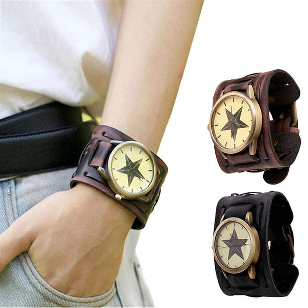 Superior New Style Retro Punk Rock Brown Big Wide Leather Bracelet Cuff Men Watch Cool