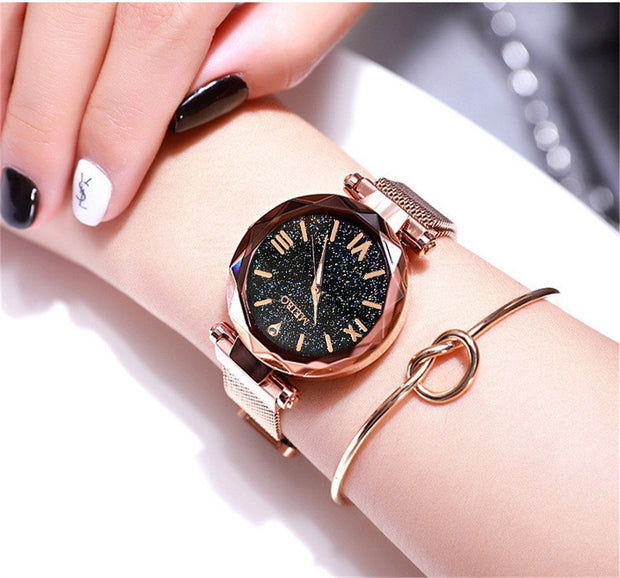 Susenstone MEIBO Quartz Stainless Steel Band Magnet Buckle Starry Sky Analog Wrist Watch Wrist Watches For Women Stainless Steel