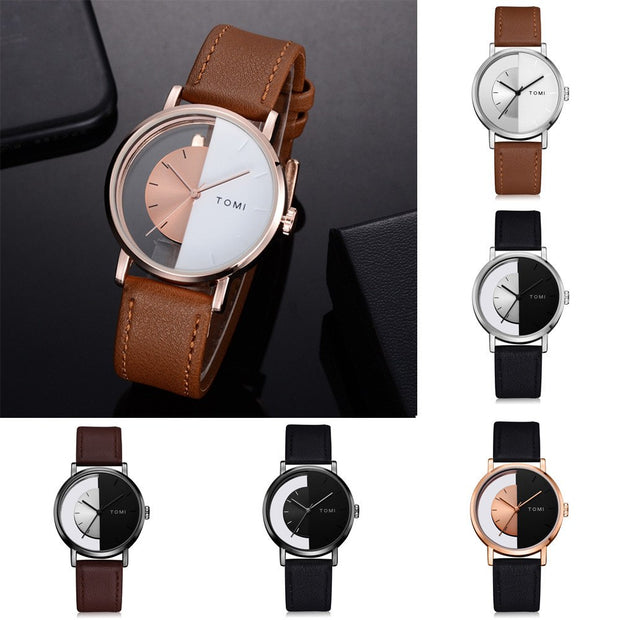 TOMI Casual Men 's Bussiness Retro Watch Transparent Design Leather Round Band Watch Men Business Style Relogio Masculino