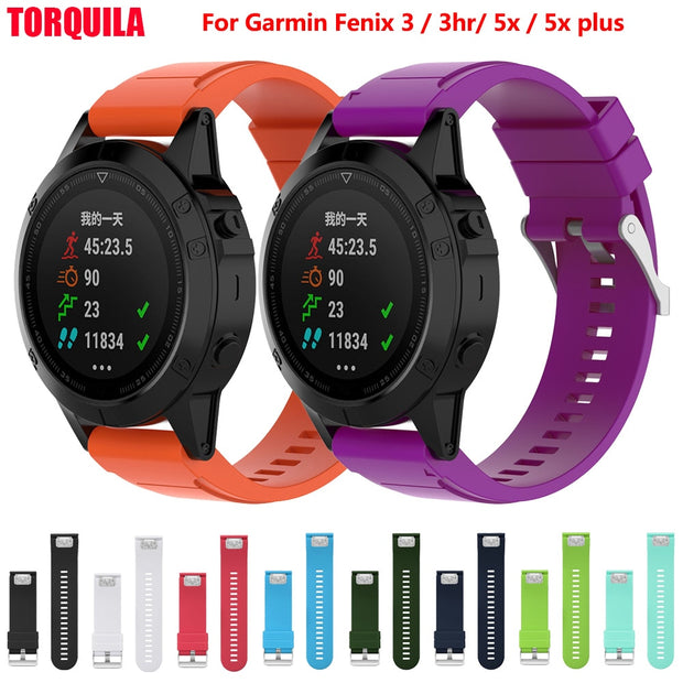 TORQUILA 26mm Quick Fit Silicone Straps For Garmin Fenix 5X / Garmin Fenix 3 / 3HR Watch Band Easy Fit Replacement Accessories