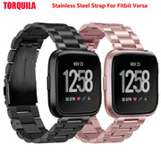 TORQUILA Stainless Steel Strap For Fitbit Versa Fitness Watch Metal Band Replacement Bracelet Accessories