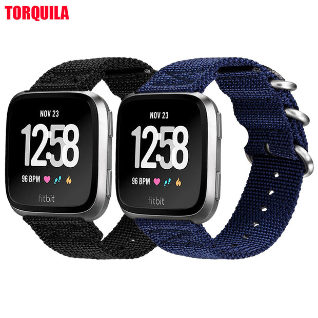 TORQUILA Woven Nylon Nato Strap For Fitbit Versa Smart Watch Adjustable Light Weight Breathable Sport Band Replacement