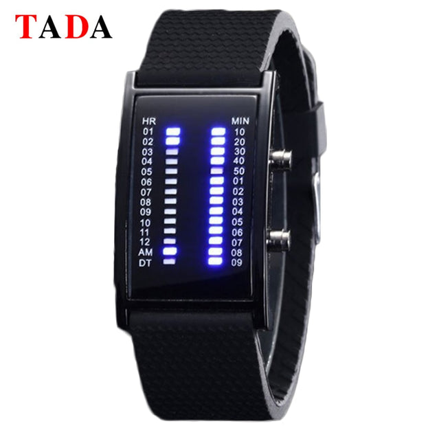 Tada Brand Unique Binary Led Watch Fashion Bridge Rectangle Shape Blue Light Silicone Men Soprts Digital Watch 2018 Montre Homme