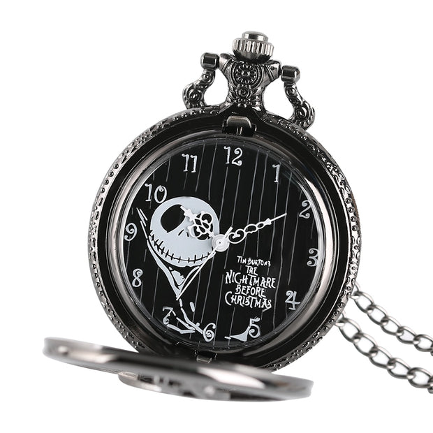The Nightmare Before Christmas Jack Skellington Tim Burton Movie Kid Toys Watches Fashion Black Quarzt Pocket Watch Gifts Item