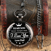 """To MY SON"" Engraved Word Quartz Pocket Watch LOVE Dad Men Unique Clock Chain Boy Birthday Souvenir Gifts For Children Boys Men"
