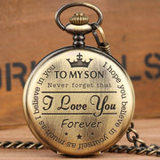 """To MY SON"" Engraved Word Retro Copper Pocket Watch Men Unique Quartz Clock Chain Boy Birthday Christmas Gift For Kids Boy Men"
