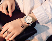 Top Brand Fashion Ladies Watches Leather Female Quartz Watch Women Thin Casual Strap Watch Reloj Mujer Marble UK Dial Clocks