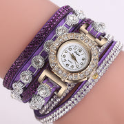Top Brand Luxury DUOYA D196 Women Wrap Around Quartz Wrist Watch With Diamond Purple Relogio Masculino