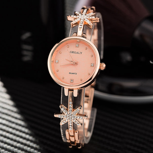 Top Hot Watch Woman Gift Set Fashion Wrist Watch With Jewelry Bracelet Set Alloy Stars Rhinestones Band Simple Watch Face Clock