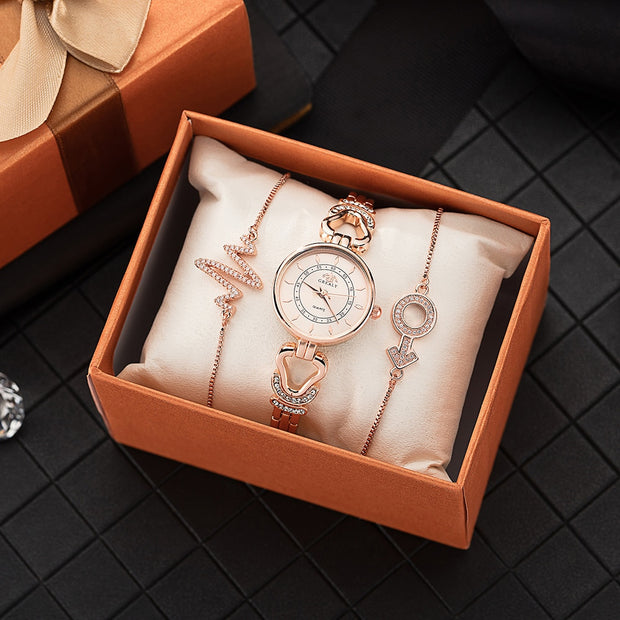 Top Hot Watch Woman Gift Set Fashion Wrist Watch With Jewelry Chain Rhinestones Band Simple Watch Face Clock For Gift Watch Box