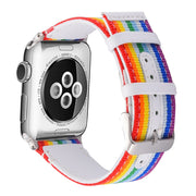 UEBN Band For Apple Watch Series 4 3 2 1 Strap Leather Back With Metal Buckle Modern Design Luxury Style For Iwatch Rainbow