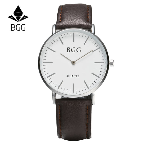 Ultra Slim Classic Casual Quartz Watches Genuine Leather Business Men Watch 2016 BGG Brand Simple Mens Wristwatches