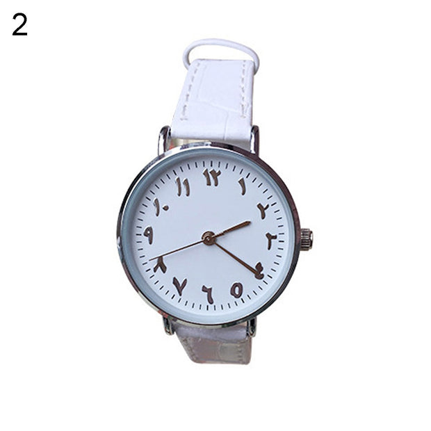 Unisex Arabic Numbers Faux Leather Analog Quartz Wrist Watch Lover Couple Gift