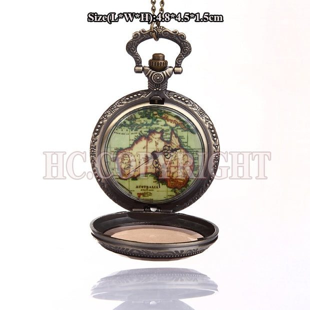 Unisex Quartz Pocket Watch 1pc Vintage Watch Necklace Retro See Through Australian Map Shape Pendant Chain Analog Clock