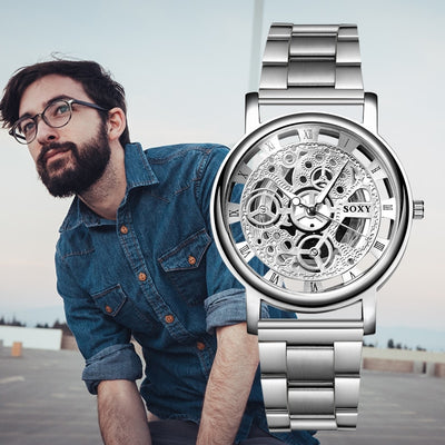 Unisex Top Brand SOXY Watch Silver Luxury Hollow Steel Watches Men Women Unisex Hombre Quartz Wrist Watch Clock Retro Relogioes