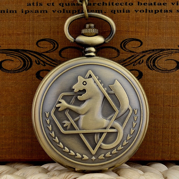 Vintage Bronze Fullmetal Alchemist Quartz Pocket Watch Chains Antique Men Women Pendant Necklace Clock Gift