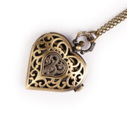 Vintage Bronze Women's Necklace Quartz Pocket Watch Pendant Chain Steampunk
