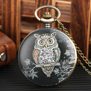 Vintage Mens Pocket Watch Owl Pattern Black Pocket Watch For Boy Arabic Digital Quartz Movement Pocket Watches For Teenager