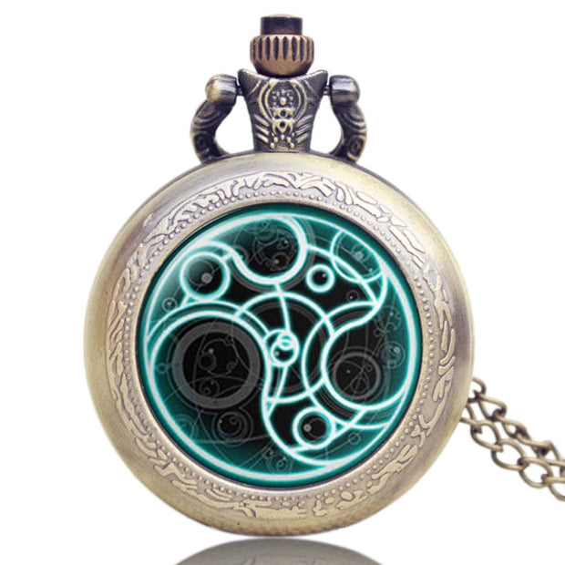 Vintage Pocket Watch, Doctor Who Glass Dome Quartz Pocket Watch For Men, Necklace Pocket Watch Gift