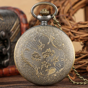 Vintage Pocket Watch For Men Cartoon Batman Pattern Quartz Pocket Watch For Teenager Movie Theme Necklace Gift For Boys